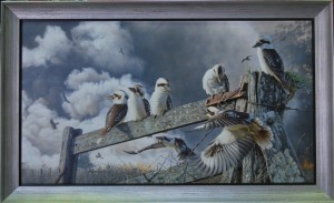 Greg Postle - Oil on Linen in grey painted float with hand gilded wide silver frame