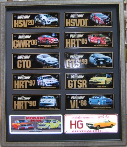 Collection of Holden Racing Number Plates, mounted and framed under glass