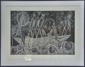 Very Large Arone Meeks lino print on paper framed under perspex
