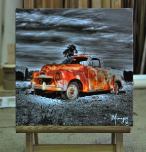 Small hand coloured photographic print on canvas - custom stretched