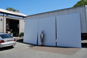 A VERY Large triptych of linen panels prepared for Donald James Waters work Commissioned by Queensland Police