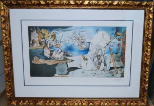 Ltd Edition Print by Salvador Dali, triple mats. ornate gold frame and museum glass