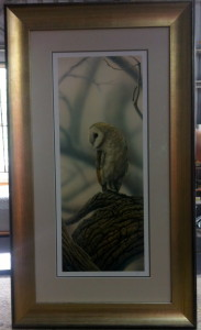 Owl by Christopher Pope, triple mat, museum glass and brushed champagne silver outer frame